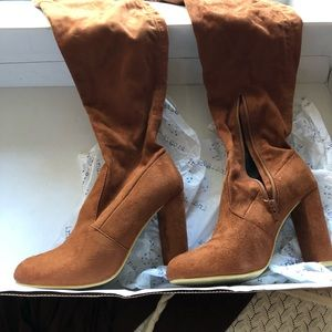 No Doubt Shoes - Over the knee Rust (gray also) suede boots